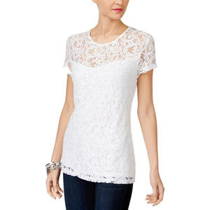 WHITE SEQUINED LACE BLOUSE TOP SZE: S NWT $70